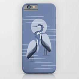 Blue Great Blue Heron Pair iPhone Case