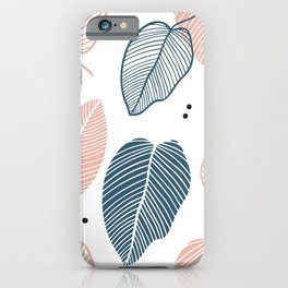 Leaves Pink And Blue - Mid Century Pattern iPhone Case