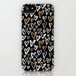 Black White and Gold Hearts iPhone Case