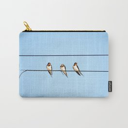 Sleepy Swallows - Birds on the wire Carry-All Pouch