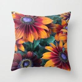 Orange Daisies Throw Pillow