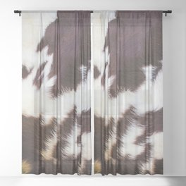 Faux Fur Cowhide (digital art, smooth print) Sheer Curtain
