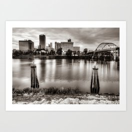 Downtown Little Rock City Skyline Over The Arkansas River In Sepia Art Print