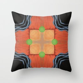 Sojourner // Tribal Geometric Vibrant Visionary Abstract Pattern Orange Black Bohemian Color Shape Throw Pillow