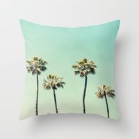 palm trees Throw Pillows featuring Palm Trees  by Bree Madden
