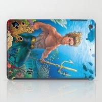 aquaman iPad Cases featuring Aquaman Black Lagoon (Sun Kissed Water Version) by Brian Hollins art