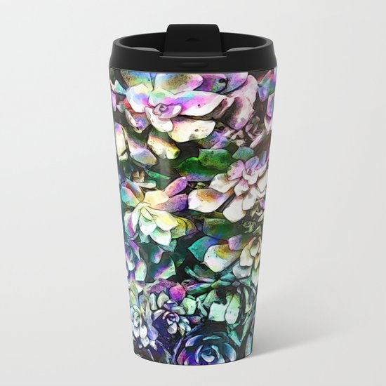 Colorful Abstract Plants Metal Travel Mug