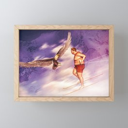 American Bold Eagle VS Summer Skier Framed Mini Art Print
