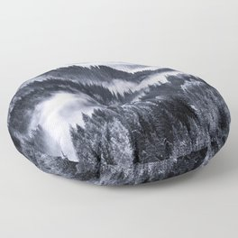 Misty Forest Mountains Floor Pillow
