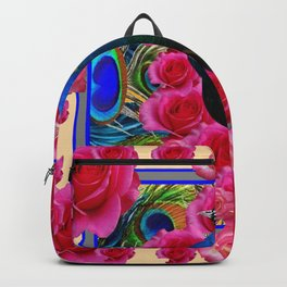 BLUE PEACOCK &  CREAM COLOR  PINK ROSE  FLOWERS Backpack