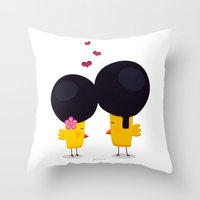 afro Throw Pillows featuring Afro Love by Piktorama