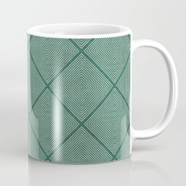 Stitched Diamond Geo Grid in Green Coffee Mug