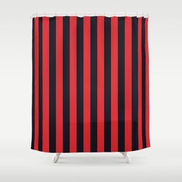Vertical Stripes Black & Red Shower Curtain