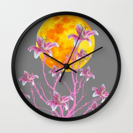 GREY PINK ASIATIC STAR LILIES MOON FANTASY Wall Clock