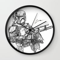 boba fett Wall Clocks featuring Boba Fett by Leamartes