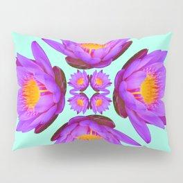 Purple Lily Flower - On Aqua Blue Pillow Sham