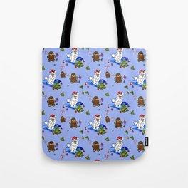 Santa Paws Holiday Samoyed Pattern Tote Bag