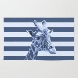 [Animals & Stripes] Blue giraffe Rug