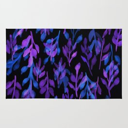 180726 Abstract Leaves Botanical Dark Mode|Botanical Illustrations Rug