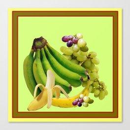 YELLOW-GREEN BANANAS GREEN GRAPES ART DESIGN Canvas Print