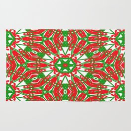 Red, Green and White Kaleidoscope 3376 Rug