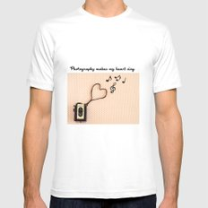 Photography makes my heart sing MEDIUM White Mens Fitted Tee