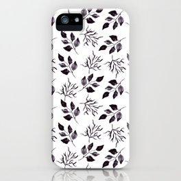 Black gray watercolor hand painted floral leaves iPhone Case