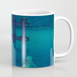 Japanese Woodblock print Torii In The Lake During Night Blue Monochromatic Coffee Mug
