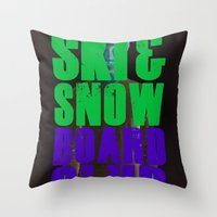snowboard Throw Pillows featuring WHS Ski and Snowboard Club by slothcats
