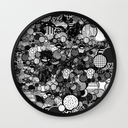 Rain Game Pattern in Black and White Wall Clock