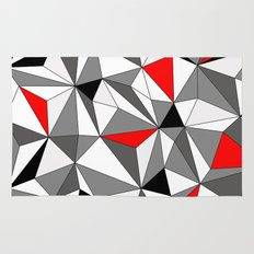 Geo - red, gray, black and white Rug