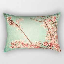 Pink Autumn Leafs on Blue Textured Sky (Vintage Nature Photography) Rectangular Pillow