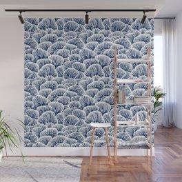 Mushroom Pattern - Dark Blue Wall Mural