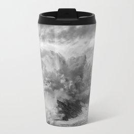 Crashing Waves - Black and White Metal Travel Mug