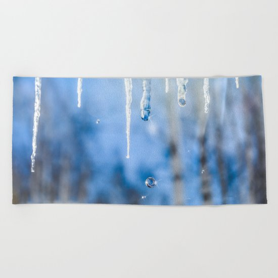 Icicles and drops in a birch grove Beach Towel