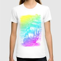 pirate ship T-shirts featuring Caleuche Ghost Pirate Ship - Color by Roberto Jaras Lira
