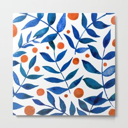 Watercolor berries and branches - blue and orange Metal Print