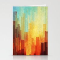 buildings Stationery Cards featuring Urban sunset by SensualPatterns