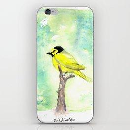 Hooded warbler in watercolor iPhone Skin