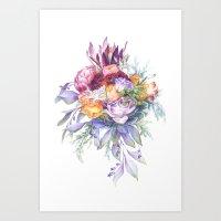 Vintage bouquet. Watercolor botanical illustration Art Print