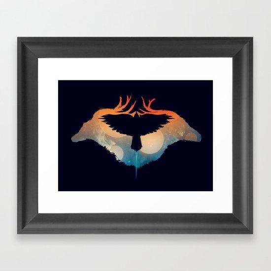 Night sky over savanna Framed Art Print
