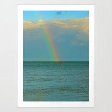 Rainbow at sea Art Print