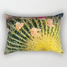 Barrel Cactus With Colorful Flower Petals Rectangular Pillow