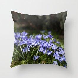 Blue Scilla Throw Pillow