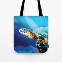 sea turtle Tote Bags featuring Sea Turtle by Natasha Alexandra Englehardt