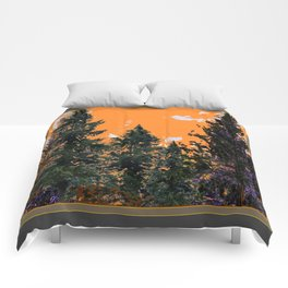 CHARCOAL GREY WESTERN PINE TREES  LANDSCAPE Comforters