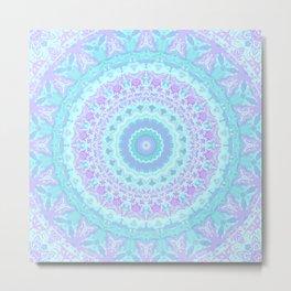 Cyan, Turquoise, and Purple Kaleidoscope Metal Print