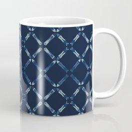 Indigo Blue Pattern Cross Grid Hand Drawn Coffee Mug