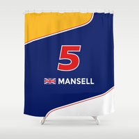 f1 Shower Curtains featuring F1 Legends - Nigel Mansell [Williams] by MS80 Design