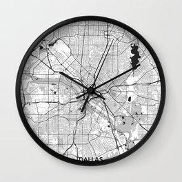 Dallas Map Gray Wall Clock